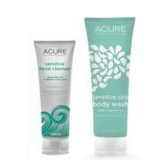 Acure Organics Pumpkin + Argan Oil Sensitive Facial Cleanser & Body Wash Bundle with All Natural Organic Probiotics, Coq10, Omega Fatty Acids and Argan Stem Cells, 120ml And 240ml