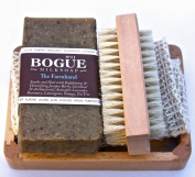 Bogue Milk Soap-The Farmhand Giftset-Detoxifying Juniper Berry & Cornmeal Exfoliate, Remove Smells. Antibacterial, Antiseptic Tea Tree, Healing Rosemary & Lavender Oil. Cloth, Nail Scrubber & Tray 180ml