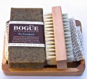 Bogue Milk Soap-The Farmhand Giftset-Detoxifying Juniper Berry & Cornmeal Exfoliate, Remove Smells. Antibacterial, Antiseptic Tea Tree, Healing Rosemary & Lavender Oil. Cloth, Nail Scrubber & Tray 180ml