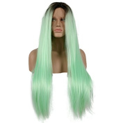 Aurica Fashion Silk Straight Short Brown Roots Mint Green Ombre Heat Safe Synthetic Hair Lace Front Wig