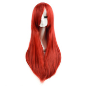 Andao Long Red Cosplay Wig Straight Cosplay Wig Quality Synthetic Hairpieces Be3059