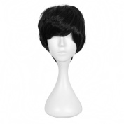 Andao Hairpieces for Men Short Cut Wigs Black Cosplay Hairpiece Be3052