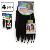 Janet Collection Havana Medium MAMBO TWIST Braid 30cm (1B - OFF BLACK) 4 Packs Deal