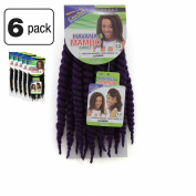 6 Pack of Janet Collection Havana Medium Mambo Twist Braid 30cm Colour D Purple