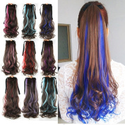 DENIYA Long Curly Wrap around Clip in Ponytail Wig Hair Piece Extensions