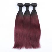 Mxangel 3pcs Black Dark Wine 99j Two Tone Ombre Brazilian Human Hair Straight Weave Extensions 36cm Bundles Hair