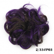 DENIYA Ladies Synthetic Curly Elastic Multi-Tonal Coloured Hair Bands Hair Bun Extension Hairpiece