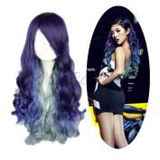 COSPLAZA Anime Cosplay Wigs Long Body Wave Purple Blue Lolita Halloween Hair