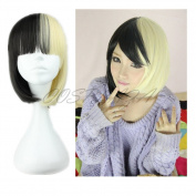 COSPLAZA Anime Cosplay Wigs Short Straight Black Yellow Flat Bang Hair