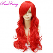 SmartFactory Red Long Front Lace Human Hair Wig For Cosplay Party