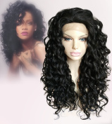 Cbwigs Curly From Root To Bottom Synthetic Fibre Lace Front Wig For Black Woman 150% Heavy Density, Med cap