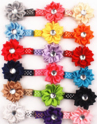 18pcs 5.1cm Boutique Hair LILY Flower Girls Kids Children Alligator Clip Hair Clips 18 Colour
