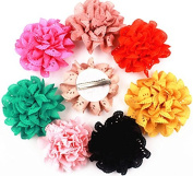 8pcs 7.6cm Boutique Hair Shaggy Flower Girls Kids Children Alligator Clip Hair Clips 8 Colour