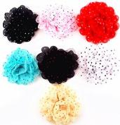 7pcs 10cm Boutique Hair Shaggy Lace Polka dot Flower Girls Kids Children Alligator Clip Hair Clips 7 Colour