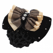 Uxcell Rhinestone Bowknot Woman Cover Hair Clip, Black Beige, 0kg