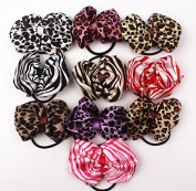 10pcs 10cm Boutique Hair Bows Girls Kids Children Rubber Elastic Band Strips and Leopard Pattern Ribbon Headbands 10 Colour