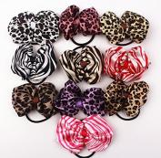 10pcs 10cm Boutique Hair Bows Girls Kids Children Rubber Elastic Band Strips and Leopard Pattern Ribbon Headbands 10 Colour