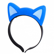 uxcell® Party Flash LED Cat Ear Decor Light Blinking Hair Band Hairband Blue
