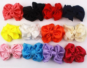 12pcs 8.4cm Boutique Hair Bows Girls Kids Children Alligator Clip Silky Ribbon Headbands 12 Colour