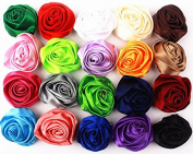 20pcs Boutique Hair Rose Style Girls Kids Children Alligator Clip Silky Ribbon Headbands 20 Colour