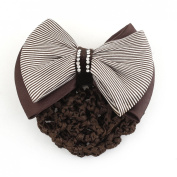 Uxcell Lady Striped Bowknot Detail Hairnet Hair Clip, Coffee Colour, 0kg
