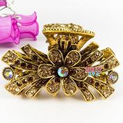 Beautyxyz Fashion Women's Rhinestones Metal Hair Claw Clip Flowers design AB3