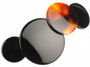 French Amie LOVE Circles Shell Black Medley Handmade Celluloid Hair Clip Barrette with Silver Metal Clasp for Girls