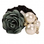 STEVE YIWU® Women Girls Fashion Ponytail Holder Hair Faux Pearls Flower Rose Hair Rope Ring Elastic Tie Hair Rope Accessories