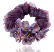 GAMT Handmade Cloth Silk Yarn Hair Ring Dark Purple