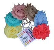 This Season's Shabby Rose Flower Ponytail Holders, Set of Six
