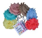 This Season's Shabby Rose Flower Ponytail Holders, Set of Six