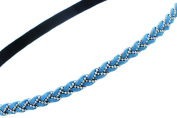Elastic Headband | Braided Suede with Beaded Silvertone Accent | Turquoise