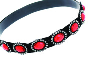 Elastic Headband with Large Oval Gems and Sparkling Crystal Accents | Ruby/Red