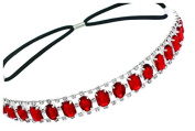 Elastic Headband with Oval and Rectangle Gems and Sparkling Crystal Accents | Ruby/Red