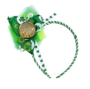 St. Patrick's Day Shamrock Coin Green and White Headband
