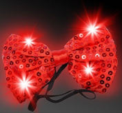 LED Light Up Flashing Red Sequin Bow Ties Tie