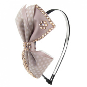 Uxcell Dot Pattern Bowknot Decor Woman Hairband/Hair Hoop, Pink, 0kg