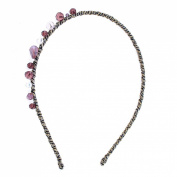 Uxcell Woman Claret Manmade Crystal Decor Braid Head Band Hairband, Clear, 0kg