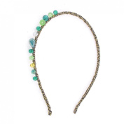 Uxcell Girl Lime Manmade Crystal Decor Braid Head Band Hairband, Green, 0kg