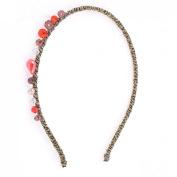 Uxcell Lady Manmade Crystal Decor Braid Head Band Hairband, Fuchsia, 0kg