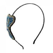 Uxcell Women Plastic Beads Decor Bowtie Shape Hair Hoop Band, Black Blue, 0kg