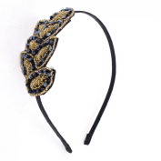 Uxcell Lady Plastic Beads Detail Leaf Shape Decoration Hair Hoop, Beige Black, 0kg