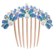 GAMT Rhinestone Hair Side Comb Blue