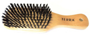 Terra 100% All Natural Wood Medium Nylon Bristles Unisex Professional Hairbrush for All Types of Hair