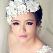 Creazy® New Handmade Tiara Wedding Bridal Floral Lace Pearl Headpiece Hairpin