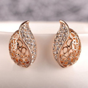 Leiothrix Elegant Golden Leaf Bud Shape Ear Stud with Rhinestone for Women and Girls Apply to Weeding Party Casual