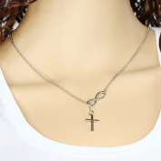 Leiothrix Simple Lucky Number Eight & Cross Silver Alloy Necklace for Women and Girls Apply to Weeding Party Casual