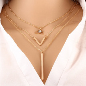 Leiothrix Morden Multilayer Rhinestone Paillette & Pendant Alloy Golden Necklace for Women and Girls Apply to Weeding Party Casual