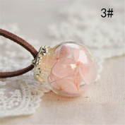 Banggood Fashionable Handmade Crystal Glass Ball Necklace Leather Chain Pendant.