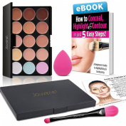 Contour 15 Colour Cream Concealer Makeup Palette; Jouvenet Illusion Concealer Palette, Jouvenet Beauty Blender Sponge, Foundation Brush, Instruction Card, Highlight & Contour Ebook
